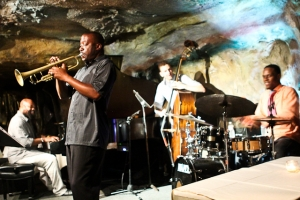 Kenny Rittenhouse, trumpet with Zach Brown, bass, Quincy Phillips, drums, and Allyn Johnson, piano