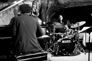 David Virelles, piano, E.J. Strickland, drums, and Dezron Douglas, bass