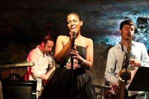 Integriti Reeves, vocals, Elijah Balbed, saxophone, and Jeff Reed, bass